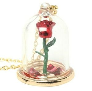 Disney Jewelry - NWT Beauty & the Beast Rose Necklace